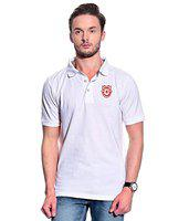 T10 Sports Solid Men's Polo Neck White T-Shirt