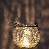 Marigold Stores Crackled Glass Lantern cum Tealight Candle Holder with One Tealight Candle (White)