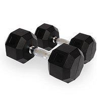 Kobo Imported Home Gym Exercise Cardio Aerobic Training Fitness Grippy HEX Rubber Dumbbell (Pair) (10)