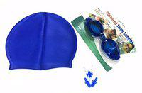 Complete Swimming Kit with Cap, Goggles and Earplugs(Blue)