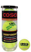 Cosco Championship Tennis Ball Pressurised Balls Packed in Petcan of 3 Balls.