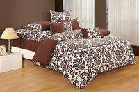 Swayam Brown and Off White Colour Floral Double Winter Quilt