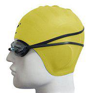 JERN Complete Swimming Kit with Ear Protection Cap and Goggles (Yellow)