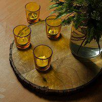 Homesake Glossy Votive Set (4 Pieces) Yellow Glass Candle Holder, with T-Lights