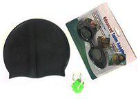 Black Complete Swimming Kit with Cap, Goggles and Green earplugs