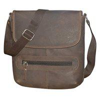 Style98 Unisex Leather Handmade Stitched Messenger Bag (Brown)