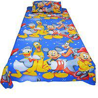 Indian Rack Mickey Mouse Cartoon Premium Cotton Kids Single Bedsheet with Pillow case - Guaranteed Fast Color with Satin Weave