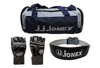 JJ JONEX Combo Double Leather Weight Belt with Gym Bag and Gloves (Dark Blue and Black)