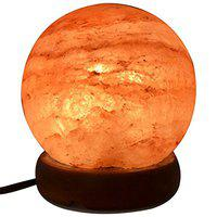 Starstell Spherical Round Ball Shape Rock Salt Table Lamp for Decoration & Healing - 7 Inch (H) Positive Energy, Removes Negativity from Home