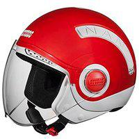 Studds NANO Open Face Helmet (Red and White, S)