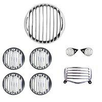 R.J.VON -Real Customized,Headlight,Tail,Indicator,Eyes Light Grill Silver/Black Set of (8 Pcs.) - for Royal Enfield Bullet Standard 350/500 CC