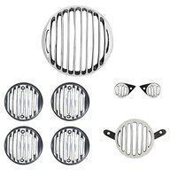 R.J.VON -Real Customized,Headlight,Tail,Indicator,Eyes Light Grill Silver/Black Set of (8 Pcs.) - for Royal Enfield Bullet Classic 350/500 CC/Classic Chrome/Classic Desert Storm