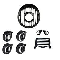 R.J.VON -Real Customized,Headlight Projector and Indicator Grill with Shade,Tail Light,Eyes Light Grill Black Set of (8 Pcs.) - for Royal Enfield Bullet Standard 350/500 CC