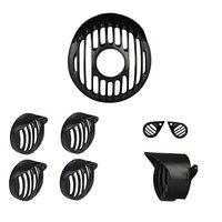 R.J.VON -Real Customized,Headlight Projector,Indicator,Tail Light Grill with Shade Eyes Grill Black Set of (8 Pcs.) - for Royal Enfield Bullet Classic 350/500 CC/Classic Chrome/Classic Desert Storm