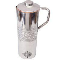 INDIAN ART VILLA Steel & Copper Jug, 900ml, Silver & Brown
