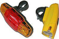 Amardeep Cycles Combo LED Front Rear Light Combo (Black, Yellow, Blue)
