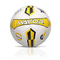 Mayor Pitch Rubber Football, Size 5 (White, Red)