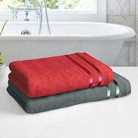 Story@Home 100% Cotton 450 GSM Cotton Bath Towel Set - 2 Piece :: 140 x 70 cm and 120 x 60 cm(Wine Red and Grey)