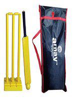 Arnav Plastic Cricket Kit Full Size, One Bat, Three Stumps, Two Balles, one Base of Three Stumps, One Ball and Cover