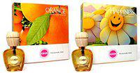 Feelgood Car Perfumes And Freshners Combo Offer - Orange ,Happiness - Smell Of Nature Fresh Grass - Liquid Diffuser - 10Ml Each