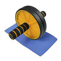 arnav Plastic Ab Wheel with Free Mat (Yellow/Blue/Green) for Body Fitness Workout - Ab Roller Ab Wheel Abdominal Workout Roller for Ab Exercises. Cushioned Handles