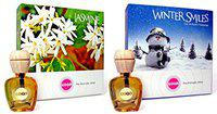 Feelgood Car Perfumes And Freshners Combo Offer - Jasmine ,Winter Smiles - Fresh Cool Vanilla Scent - Liquid Diffuser - 10Ml Each