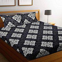 Stellar Home USA Cotton Double Bedsheet with 2 Pillow Covers - Abstract, Black - Size 7.3 x 8.3 Ft