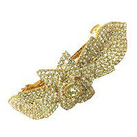 Accessher Designer White Studed Floral Back Hair Center Clip with Rhinestone for Womens and Girls