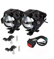 AutoPowerz U5 CREE LED Driving Fog Light Fog in Aluminum Body with Switch and Mounting Brackets for All Motorcycles, ATV and Bikes and Cars (15W, White Light, 2 PCS)