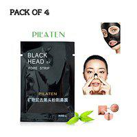 Pilaten Black Head Acne White Head Remover Charcoal Cream Mask Strips (Pack of 4)