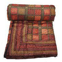 ASOKAM BAZAAR's Sanganeri Gold Floral Print Cotton Double Bed Quilt