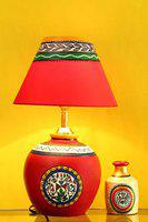 Craftbell 15 Inch Terracotta Modern Matki Table Lamp ( Red ) - Indoor Lighting / Home Decorative Items / Gift Item / Night Lamp / Table Top / Study Lamp / Desk Lamp / Bedside Lamp / Corner Lamp / Decoration Items / Table Decor For Home Decor & Gift Items / Diwali Gift