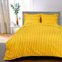 AVI Premium 300 TC Cotton Double Bedsheet with 2 Pillow Covers - Stripes, Golden (90 * 108in)