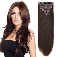 FULLY Real Human Hair Extension 10 Pcs To Increase Instant Volume Of Hair 100 Grams (16 Inch, Dark Brown)
