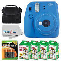 Fujifilm instax mini 9 Instant Film Camera (Cobalt Blue) + Fujifilm Instax Mini Twin Pack Instant Film (80 Shots) + Camera Case + AA Batteries + Accessory Bundle -