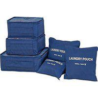 Everbuy 6 Set Travel Storage Bags Multi-functional Clothing Sorting Packages,Travel Packing Pouches, Luggage Organizer Pouch Travel Organizers Packing Cubes Laundry Bag Luggage Compression Pouches-Navy Blue