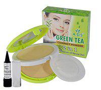 ADS Women's 2 in1 Green Tea Compact Powder with Kajal