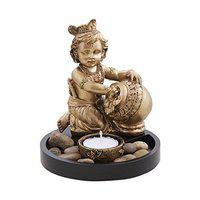 EZ Life Lord Krishna with Matki with Candle Holder (Tea Light) on Wooden Tray - Decorative Gift Set - Golden - Resin (14.5 inches)