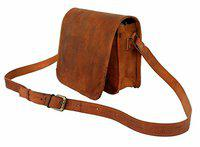 Anshika International Leather Flap Sling Bag (Caramel, 11-Inch)