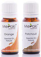 Meraki Essentials Sacral Chakra (Svadhishthana Chakra|Second Chakra) 100% Pure|Natural|Essential Oil Set - (Orange|Patchouli)10 ML Each|Boosts Creativity|