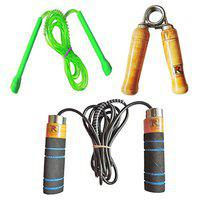 RIPR Professional 2 Skipping Rope and 1 Hand Gripper Combo Gym & Fitness Kit
