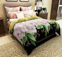 Home Candy 144 TC 3-D Double Bedsheet with 2 Pillow Covers - Floral, Multicolour