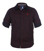 Urban Scottish Red Printed Cotton Casual Shirt for Boys (4-5 Years)