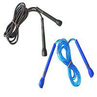 RIPR Pencil Skipping Rope Fast and Health (Pack of 2) (Black, Blue)
