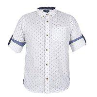 Urban Scottish White Printed Cotton Casual Shirt for Boys (4-5 Years)