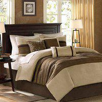 Bella 400tc 100% Cotton Satin King Size Duvet Cover Set (3 Piece) - includes 1 duvetcover and 2 Pillow Covers. Colour : Cream and Brown