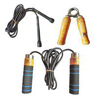 RIPR Professional 2 Skipping Rope and 1 Hand Gripper Combo Gym & Fitness Kit (Black)