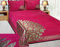 akshya Scuzo King Size Chenille Double bedsheet with 2 Pillow Covers