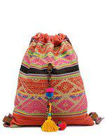 The House of Tara - Multicolour Red 2 Ltrs Handloom Fabric Slim Travel Backpack for College, Office, Evenings Accented with Tassels for Women