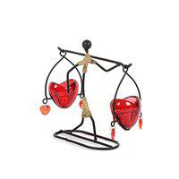 JEWEL FUEL Iron and Glass Heart Tealight Candle Holder Showpiece